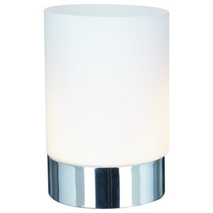 Metal Touch Table Lamp, Chrome Base With Opal White Glass