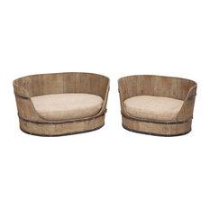 Barrel Themed Comfortable Wooden Pet Bed, 2-Piece Set