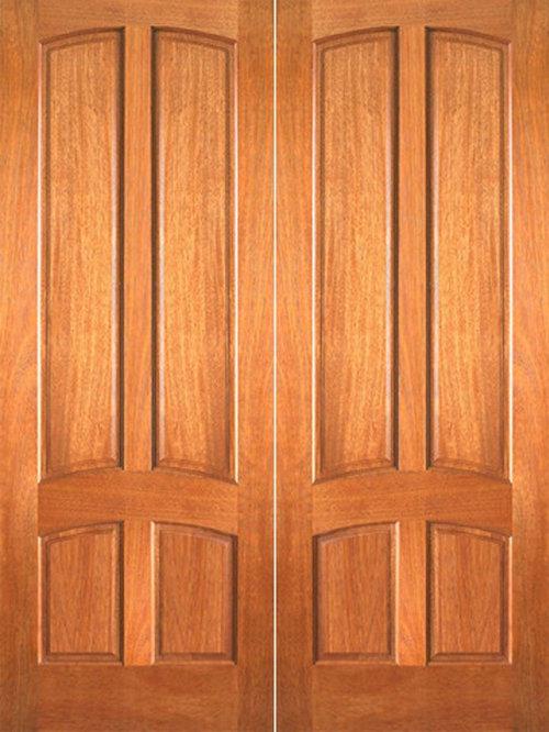 P 642 Interior Mahogany 4 Panel Double Door   Interior Doors