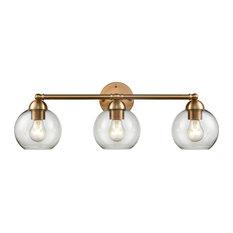 Astoria 3-Light Bath Bar, Satin Gold With Clear Glass