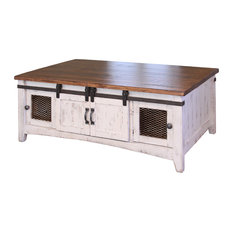 Burleson Home Furnishings Anton White Sliding Barn Door Coffee Table Tables