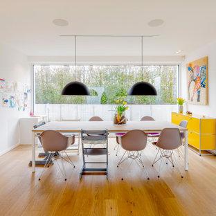 Offenes, Großes Modernes Esszimmer mit weißer Wandfarbe, braunem Holzboden und braunem Boden in Düsseldorf