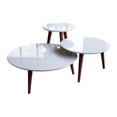 3-Pc Modern End Table Set in White Gloss Finish