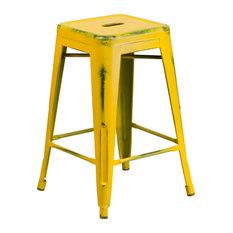 Flash Furniture Distressed Yellow Metal Stool
