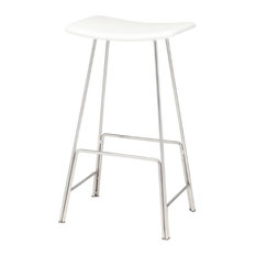 Kirsten Stool, Seat: White Leather, Bar Height