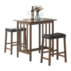 Brown Counter Height Bar Table Black Button-Tufted Cushion Stool, 3-Piece Set