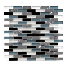 """11.75""""x11.75"""" Reflections Subway Mosaic Wall Tile, Charcoal"""