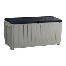 Novel 90 Gallon Plastic Deck Storage Patio Container Garden Bench Box, Grey/Blac