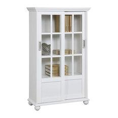 Ashton Oaks Bookcase With Sliding Glass Doors, White