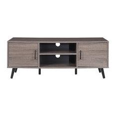 Divano Roma Furniture   Mid Century Modern TV Stand Console Entertainment  Center, Ash