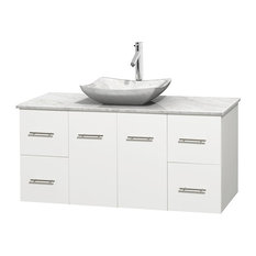 "Centra 48"" White Single Vanity, White Carrera Marble Top, Carrera Marble Sink"