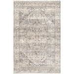 nuLOOM - Ehtel Medallion Fringe Traditional Area Rug, Silver, 9'x12' - Give your space a fashionable foundation with this area rug. It features a classic medallion motif, a fringed border and a distressed gray finish that adds a vintage, timeworn feel to its look. This piece pairs beautifully with traditional, transitional and contemporary designs.