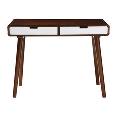 Casarano Wood Home Office Writing Desk, White And Brown