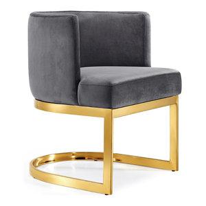 Gianna Velvet Dining Chair, Gray, Gold Base