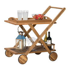 Kadence Solid Wood Natural Stained Kitchen Serving Cart