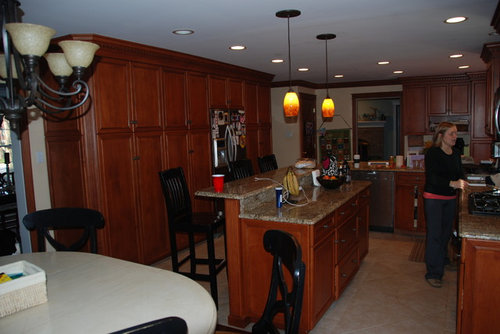 Help With Kitchen Brightening Keep Stained Wood Trim And