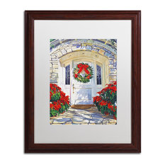 "David Lloyd Glover 'Poinsettia House' Art, Wood Frame, 16""x20"", White Matte"