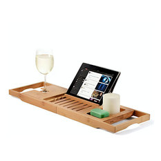 Bambusi By Belmint 100% Bamboo Bathtub Caddy With Extendable Sides