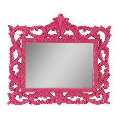 Decorative Rectangular Wall Mirror, Fuchsia, 45x39 cm