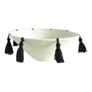 Mesey Black Tassle Decorative Bowl, Small