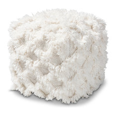 Pitara Moroccan Inspired Handwoven Cotton Fringe Pouf Ottoman, Ivory