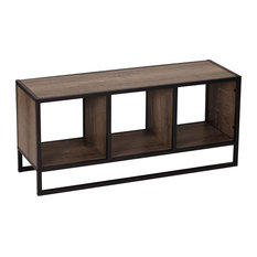 Narrow Coffee Table Metal Legs And 3 Open Compartments For Storage Ash