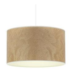 Light Burl and Ivory Wood Veneer Pendant Light, 35 cm