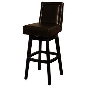Boston Swivel Bar Stool Black Bicast Leather