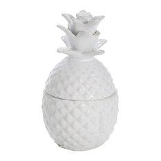 "Sagebrook Home White Pineapple Jar 6"""