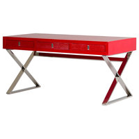 Congress Transitional Red Crocodile Pattern Desk