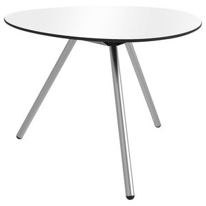 A-Lowha Dining Table, White, Stainless Steel Frame