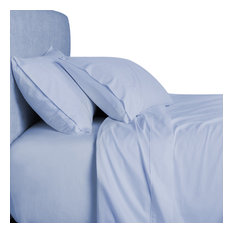 Bamboo 1500 Thread Count Solid Bed Duvet Cover Set, Queen, Blue