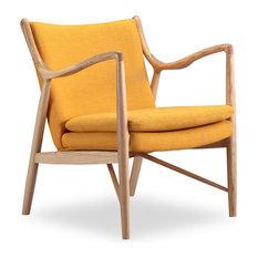 Copenhagen Midcentury Modern Twill Arm Chair, Citrine