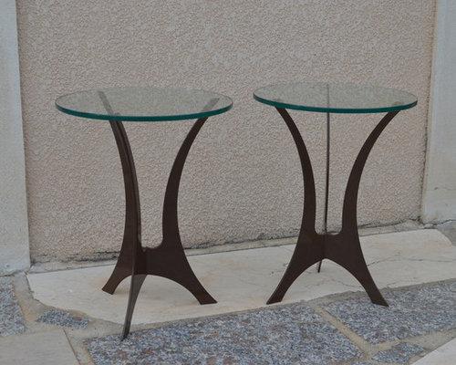 Guéridon Acier & Verre - Table Basse