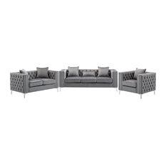 Lorreto Gray Velvet Fabric Sofa Loveseat Chair Living Room Set