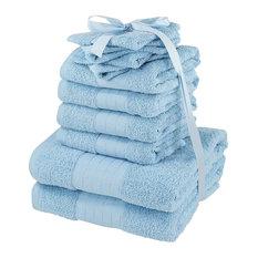 Luxuriously Soft 10-Piece Aqua Towels Bale Bath Gift Set, 100% Cotton