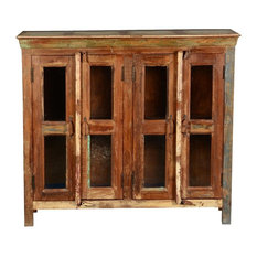 Appalachian Glass Door Rustic Reclaimed Wood Buffet Cabinet