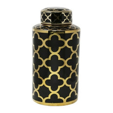 "Sagebrook Home Black/Gold Petal Pattern Jar 15.75"""