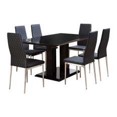 Imperia Black High Gloss Dining Table and 6 Black Milan Dining Chairs Set