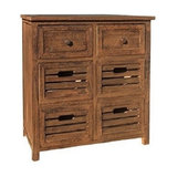 Traditional Chest of Drawer in Brown Paulownia Wood with 6 Storage Compartmets