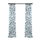 """Indonesian Blue Printed Cotton Twill Curtain, 50""""x108"""""""