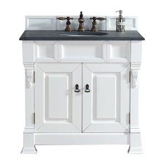 "Brookfield 36"" Single Cabinet, Cottage White, 2CM Black Rustic Stone Top"