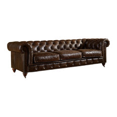 Etonnant Crafters And Weavers   Leather Chesterfield Sofa, Dark Brown   Sofas