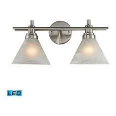2-Lgt Vanity Lamp In Brushed Nickel W/ White Marbleized Glasss (11401/2-LED)