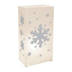 Plastic Luminaria Lanterns, White, Set of 10, Snowflake