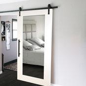 "Mirrored Sliding Barn Door With Mirror Insert + Hardware Kit, 30""x84"", 1 Mirror/"