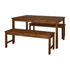 Acacia Wood Simple Patio 3-Piece Dining Set, Dark Brown