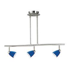 3 Lights Serpentine Light 120V GU-10 50W, Brushed Steel Finish, Blue