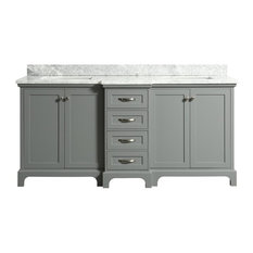 Winslow Gray Bathroom Vanity With Marble Counter, 72""