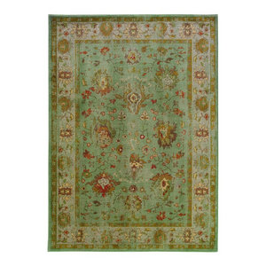 "Casablanca 4446C Oriental Blue/ Grey Area Rug, 5'3""x7'6"""